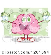 Cartoon Of A Pink Brain Mascot With Dollar Eyes And Cash Over Green Royalty Free Vector Clipart by Hit Toon