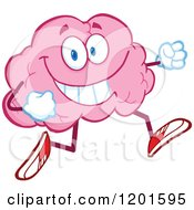 Cartoon Of A Happy Pink Brain Mascot Running Or Jogging Royalty Free Vector Clipart