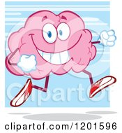 Cartoon Of A Happy Pink Brain Mascot Running Or Jogging Over Blue Royalty Free Vector Clipart