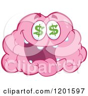 Cartoon Of A Pink Brain Mascot With Dollar Eyes Royalty Free Vector Clipart by Hit Toon