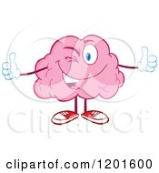 Cartoon Of A Pink Brain Mascot Winking And Holding Two Thumbs Up Royalty Free Vector Clipart by Hit Toon