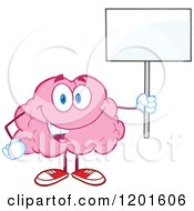 Cartoon Of A Pink Brain Mascot Standing And Holding A Sign Royalty Free Vector Clipart by Hit Toon