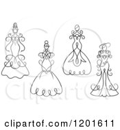 Clipart Of Black And White Swirly Brides In Wedding Dresses Or Gowns Royalty Free Vector Illustration