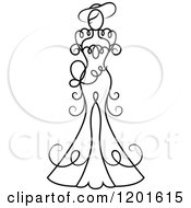 Clipart Of A Black And White Swirly Bride In A Wedding Dress Or Gown 4 Royalty Free Vector Illustration