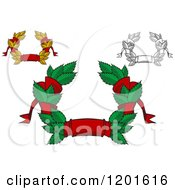 Clipart Of Leaf And Red Ribbon Wreath Coats Of Arms Royalty Free Vector Illustration