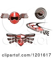 Clipart Of Red Auto Racing Helmet Muffler Car And Speedometer Designs Royalty Free Vector Illustration by Seamartini Graphics