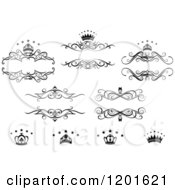 Clipart Of Vintage Black And White Frames Crowns And Stars Royalty Free Vector Illustration