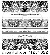 Clipart Of Ornate Black And White Border Designs Royalty Free Vector Illustration