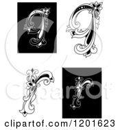 Clipart Of Vintage Black And White Floral Letters Q And R Royalty Free Vector Illustration