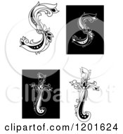 Clipart Of Vintage Black And White Floral Letters S And T Royalty Free Vector Illustration