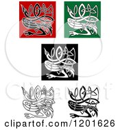 Clipart Of Celtic Heron Or Stork Knots 3 Royalty Free Vector Illustration by Vector Tradition SM