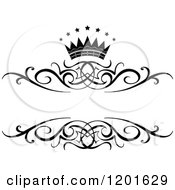 Clipart Of A Vintage Black And White Frame With A Crown And Stars 2 Royalty Free Vector Illustration