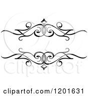 Clipart Of A Vintage Black And White Ornate Frame Royalty Free Vector Illustration
