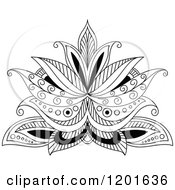 Clipart Of A Black And White Henna Flower 8 Royalty Free Vector Illustration