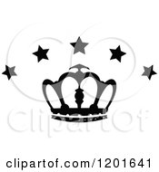 Clipart Of A Black And White Crown With Stars 3 Royalty Free Vector Illustration