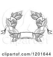 Clipart Of A Grayscale Leaf And Ribbon Wreath Coat Of Arms Royalty Free Vector Illustration
