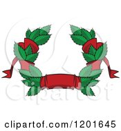 Clipart Of A Green Leaf And Red Ribbon Wreath Coat Of Arms Royalty Free Vector Illustration