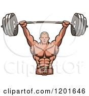 Clipart Of A Strong Male Bodybuilder Lifting A Barbell Weight Royalty Free Vector Illustration