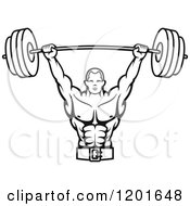 Clipart Of A Black And White Male Bodybuilder Lifting A Barbell Weight Royalty Free Vector Illustration