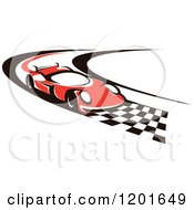 Clipart Of A Red Race Car Driving Down A Checkered Speedway Royalty Free Vector Illustration by Vector Tradition SM