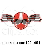 Red Race Car Driver Helmet And Mufflers