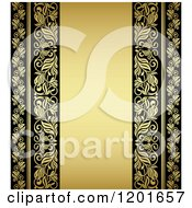Clipart Of A Vintage Black And Gold Ornate Background With Text Space Royalty Free Vector Illustration