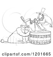Cartoon Of An Outlined Circus Tamer Holding A Chair And Whip Over A Lion Royalty Free Vector Clipart