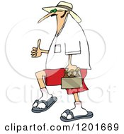 Cartoon Of A Caucasian Man Carrying Beer And Holding A Thumb Up Royalty Free Vector Clipart by Dennis Cox