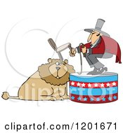 Cartoon Of A Circus Tamer Holding A Chair And Whip Over A Lion Royalty Free Vector Clipart