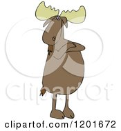 Cartoon Of A Defiant Moose Standing Upright With Folded Arms Royalty Free Vector Clipart