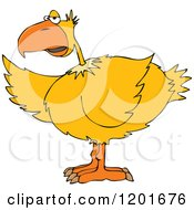 Cartoon Of A Yellow Bird Pointing With A Wing Royalty Free Vector Clipart by Dennis Cox