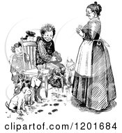 Vintage Black And White Mother And Boys With Dogs Around A Chair