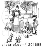 Vintage Black And White Mother And Children Giving Dogs Medicine