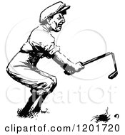 Clipart Of A Vintage Black And White Angry Golfer Breaking A Club Royalty Free Vector Illustration by Prawny Vintage
