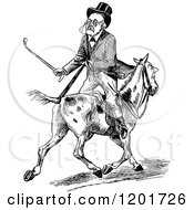 Vintage Black And White Old Man Riding Backwards On A Horse