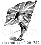 Vintage Black And White Britsh Patriot With A Flag