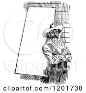 Clipart Of A Vintage Black And White Cowboy By A Sign Royalty Free Vector Illustration by Prawny Vintage