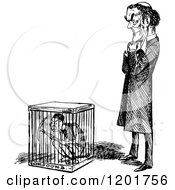 Clipart Of A Vintage Black And White Man Standing By Another In A Cage Royalty Free Vector Illustration