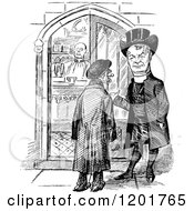 Clipart Of A Vintage Black And White Chapel Entrance And Men Royalty Free Vector Illustration