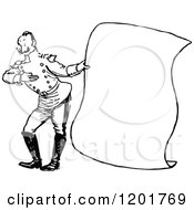 Vintage Black And White Soldier Presenting A Scroll Sign