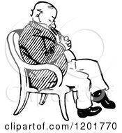 Clipart Of A Vintage Black And White Old Man Sleeping In A Chair Royalty Free Vector Illustration