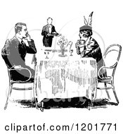 Clipart Of A Vintage Black And White Happy Couple Dining Royalty Free Vector Illustration