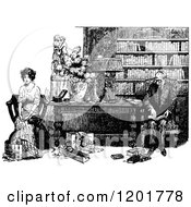 Clipart Of A Vintage Black And White Couple In A Library Royalty Free Vector Illustration