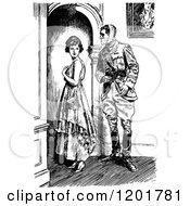 Clipart Of A Vintage Black And White Lady And Injured Soldier Royalty Free Vector Illustration