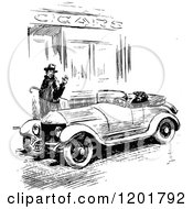 Clipart Of A Vintage Black And White Man Waving At A Driver Of A Vintage Car Royalty Free Vector Illustration by Prawny Vintage