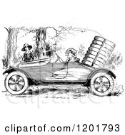 Clipart Of A Vintage Black And White Man Driving A Vintage Car By A Woman Royalty Free Vector Illustration by Prawny Vintage