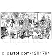 Clipart Of A Vintage Black And White Christmas Family And Dogs Royalty Free Vector Illustration