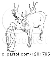 Clipart Of A Vintage Black And White Boy And Elk Royalty Free Vector Illustration