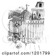 Clipart Of A Vintage Black And White Boy With Dogs Spying Through A Fence Royalty Free Vector Illustration