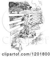 Clipart Of A Vintage Black And White Boy With Dogs At A Country Fence Royalty Free Vector Illustration